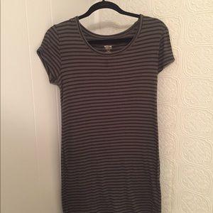 Olive &  Black Stripped T-shirt Dress